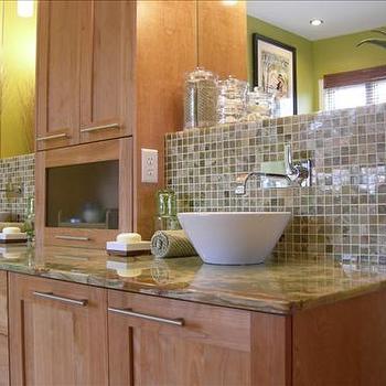 Glass Tile Backsplash - Contemporary - kitchen on Kitchen Backsplash With Maple Cabinets  id=71775