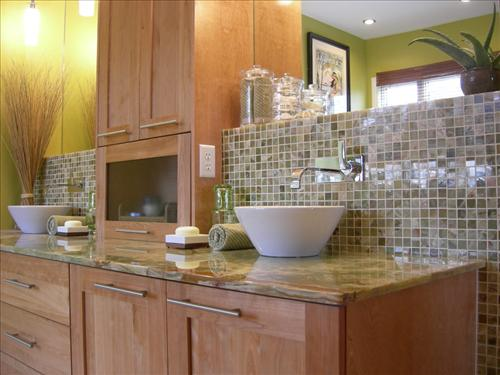 Maple Cabinets - Transitional - bathroom - HGTV on What Color Backsplash With Maple Cabinets  id=71465