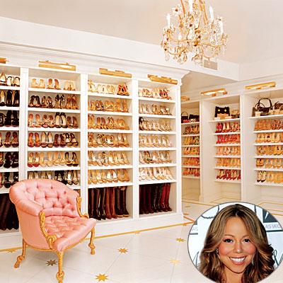 closets - tufted chair chandelier shoes boots  Mariah Carey's closet  Shoe heaven!