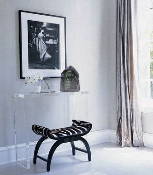 entrances/foyers - Zebra stool chair acrylic lucite console table orchid blue gray walls entrance foyer  Thanks to Girl Meets Glamour!    Lucite