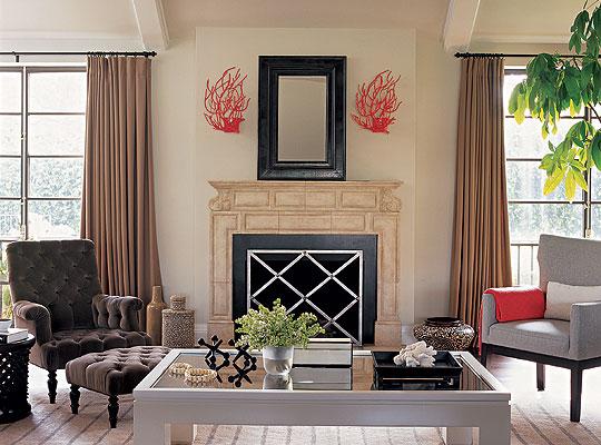 Coral Wall Decor Contemporary Living Room Burnham Design
