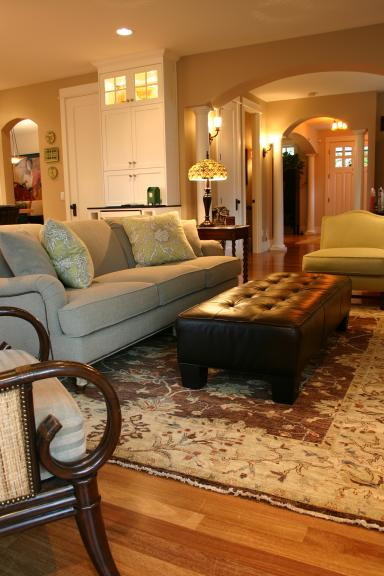 Cream And Brown Persian Rug Transitional Living Room