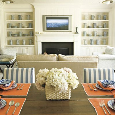 living rooms - blue orange rustic dining table fireplace built-ins great room blue white striped chairs striped  Thanks to HB!   Lovely built-ins: