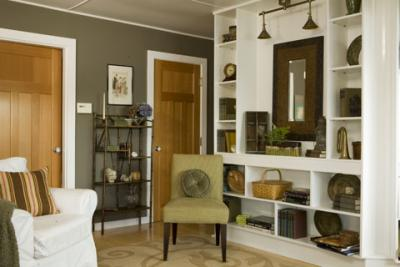 living rooms - built-ins chair taupe gray green brown white cream office  deep taupe/gray green paint wall colors   great built-ins: shelves