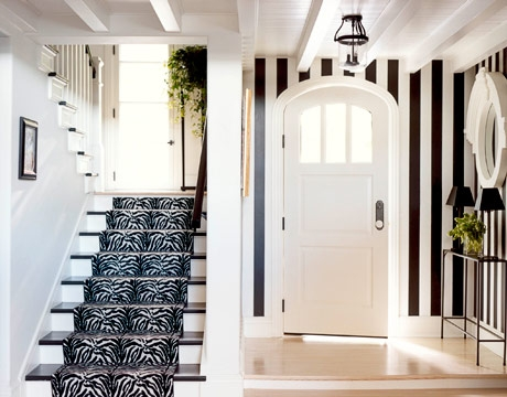 Zebra Stair Runner Contemporary Entrance Foyer Sherwin | Black And White Stair Runners | Staircase | Hallway | Cool | Diy | Jute