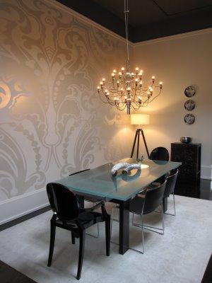 Metallic Wallpaper Contemporary Dining Room