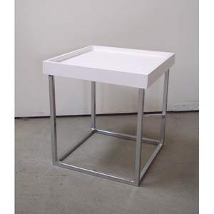 Small White Top And Chrome Base Stack Square Table