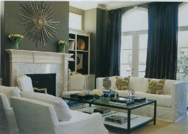 living rooms - Charcoal walls Sunburst mirror marble fireplace white sofa  Lovely french inspired living room.    Charcoal gray walls, sunburst