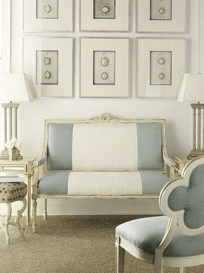 living rooms - living room french striped blue white settee art gallery  the blue and white stripe is just divine!!   white and blue striped