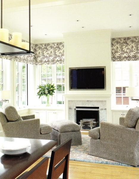 living rooms - gray blue black white damask roman shades fireplace marble built-ins cabinets blue rug gray recliners chairs ottomans built-ins cabinets family room ivory cream walls paint colors living room TV over fireplace