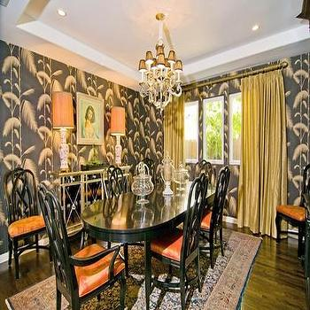 Imperial Gates Wallpaper Transitional Dining Room