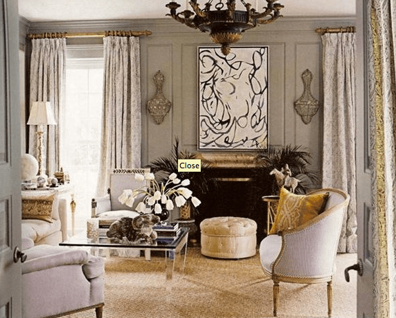 living rooms - glam lavender mirror living tufted grey walls panels drapes violet chair sofa  Glam living room  Grey walls, lavender upholstery,