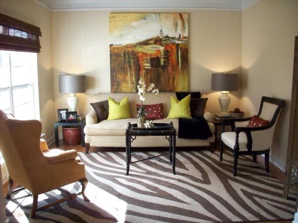 Zebra Rug Transitional Living Room Emily A Clark