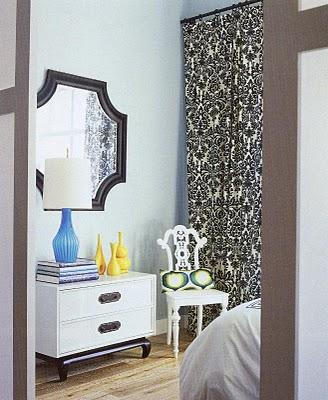 Ivory And Black Curtains Contemporary Bedroom