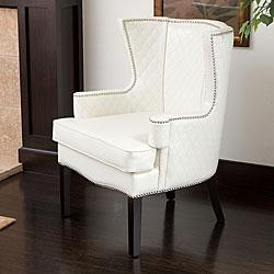 Roma White Quilted Leather Arm Chair