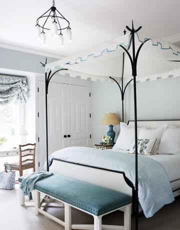 Turquoise Bench Eclectic Bedroom Benjamin Moore