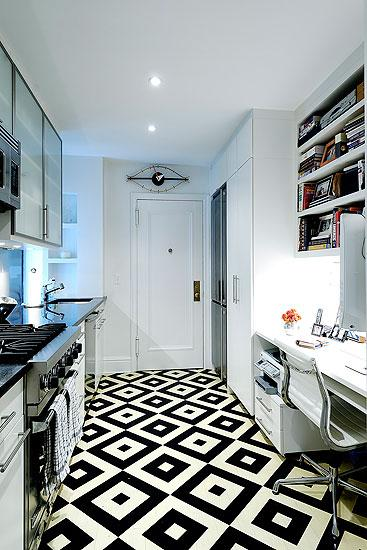 Black And White Geometric Floor Contemporary Kitchen Christina Murphy Interiors