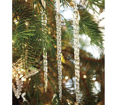Glass Icicle Ornament Pottery Barn