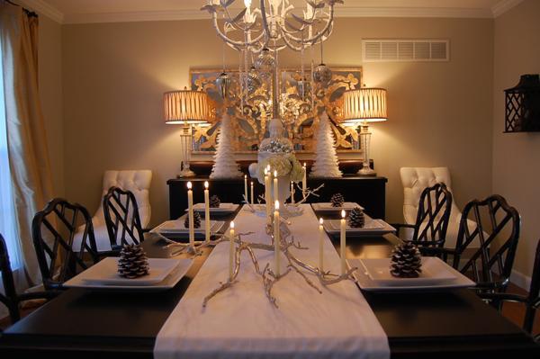 Silver Manzanita Candelabra Asian Dining Room