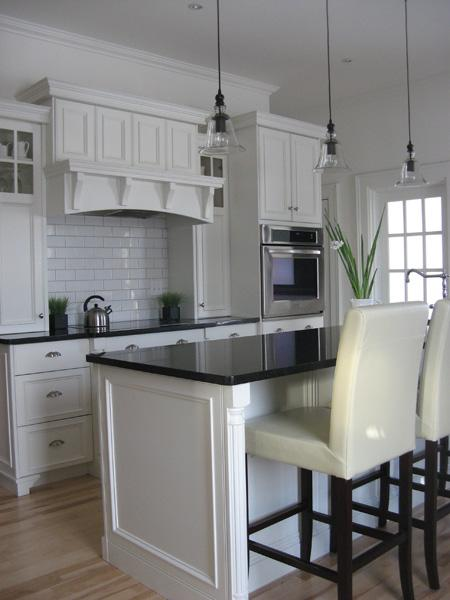 Bell Jar Pendants - Traditional - kitchen - Benjamin Moore ... on Backsplash For Black Granite Countertops And White Cabinets  id=89987