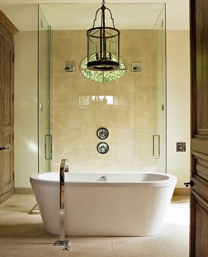 Floor Mounted Tub Filler Transitional Bathroom