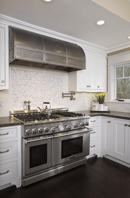 Range Hood With Iron Forged Straps Transitional Kitchen Amoroso Design