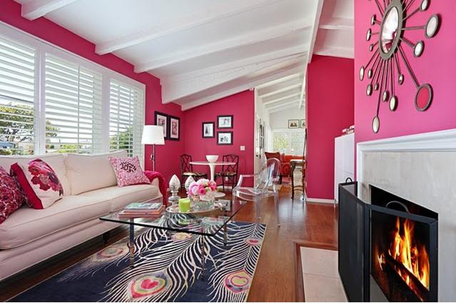 Hot Pink Paint Colors Eclectic Living Room Benjamin Moore