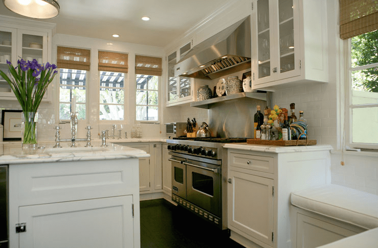 White Kitchen Cabinets With Dark Wood Floors