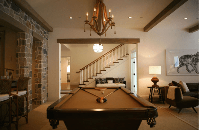 Chic Sophisticated Bat Design With Pool Table Currey And Company Simplicity Chandelier Exposed Wood Beams