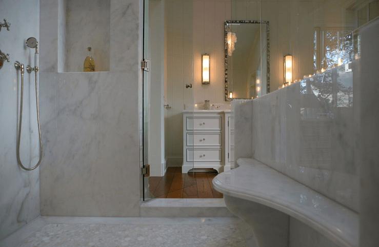 Calcutta Marble Shower Transitional Bathroom