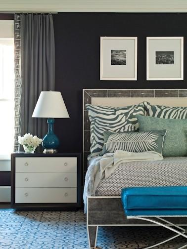 Peacock Blue Ottoman Contemporary Bedroom Brian