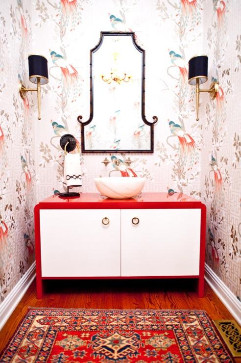 bathrooms - Peacocks orange marble vessel sink brass black bamboo wallpaper grasscloth doors oriental rug osborne and little hardwoods beaded chandelier mirror sconces