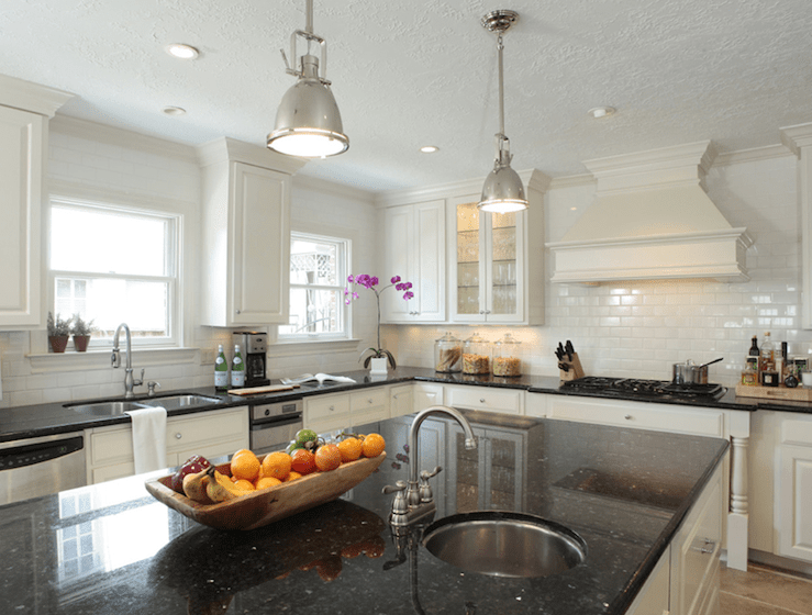 Black Granite Countertops - Transitional - kitchen ... on Backsplash For Black Granite Countertops And White Cabinets  id=39510