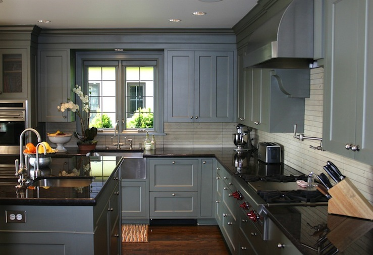 Blue Gray Kitchen Cabinets - Contemporary - kitchen ... on What Color Cabinets With Black Granite Countertops  id=14004