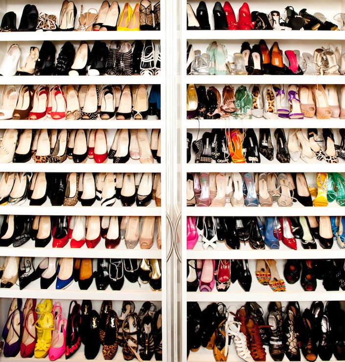 closets - white glossy lacquer shoe shelves closet  Nicky Hilton's Closet  Gorgeous, gorgeous shoe closet!