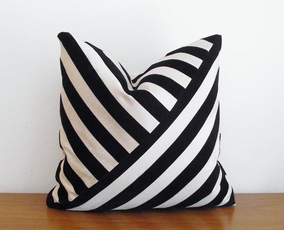 Black And White Waves Throw Pillow Modern Décor Pillows