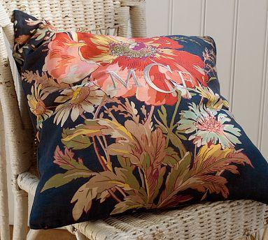 blue floral pillow cover pottery barn