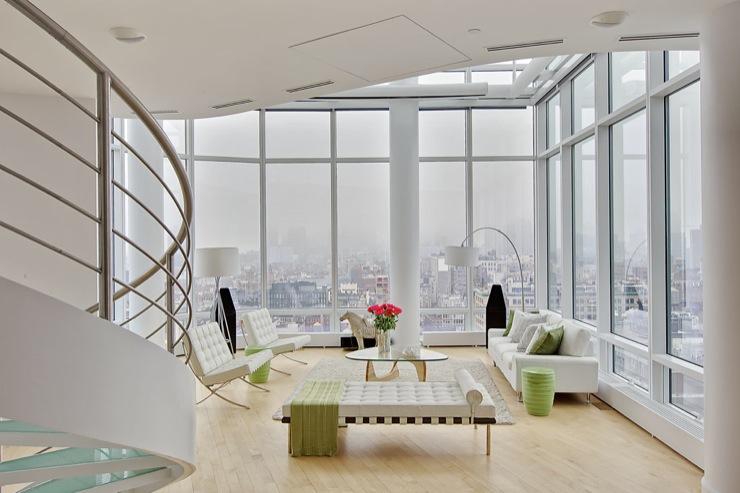 Floor To Ceiling Windows Contemporary Living Room