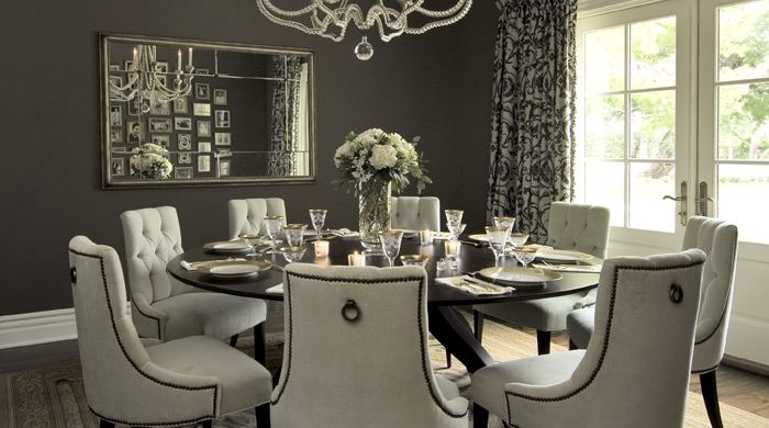Gray Dining Room Transitional Dining Room Vallone Design