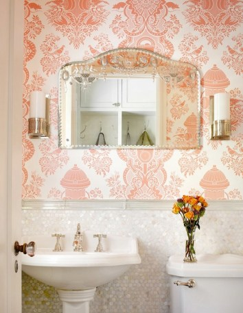 Wallpaper Designs Bathroom with Light Pink Blush Coral Damask Pattern Wallpaper and White Sink with Silver Framed Mirror