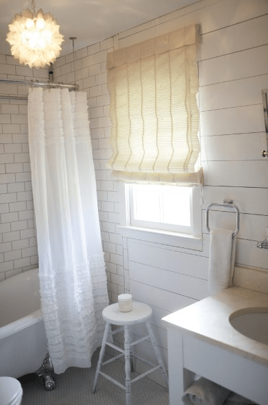 Ruffled Shower Curtain Cottage Bathroom Milk And Honey Home
