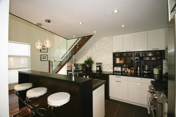 Chrome Bar Stools Contemporary Kitchen Benjamin Moore Cloud White Designer Friend