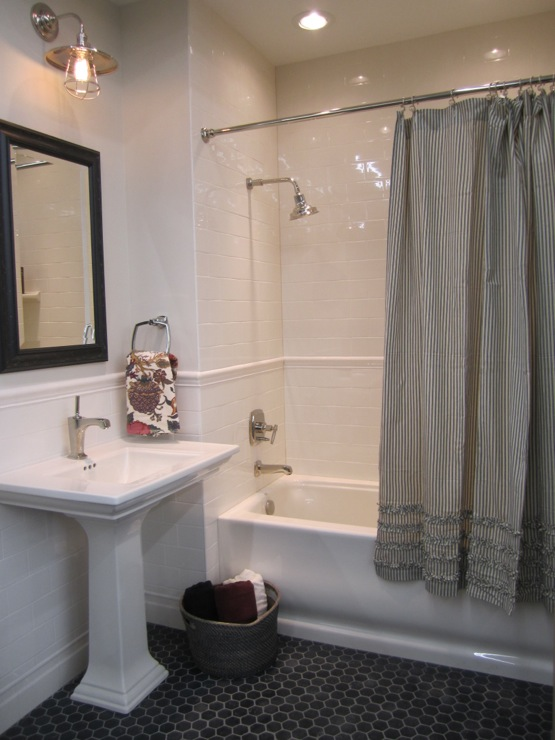 gray ruffle shower curtain