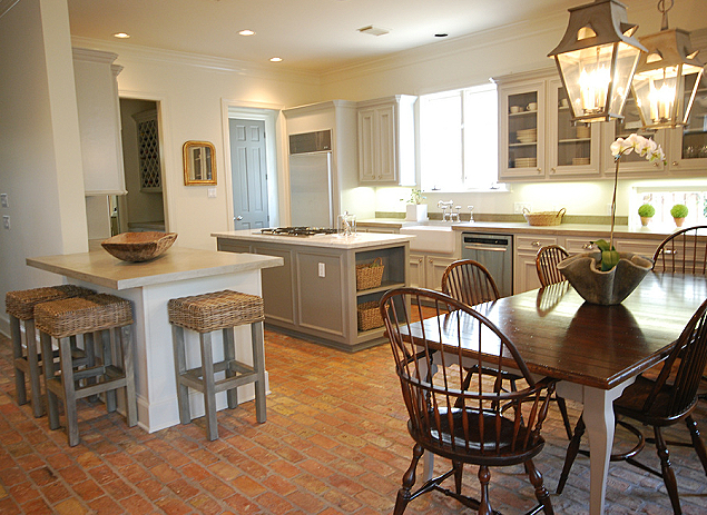 Sally Wheat Interiors - kitchens - brick, floors, seagrass, counter stools, light gray, kitchen cabinets, farmhouse sink, farmhouse, dining table, Windsor, chairs, seagrass barstools, seagrass counter stools, gray seagrass bar stools, gray seagrass barstools, gray seagrass counter stools, brick floor, brick kitchen floor, gray cabinets, gray kitchen cabinets,