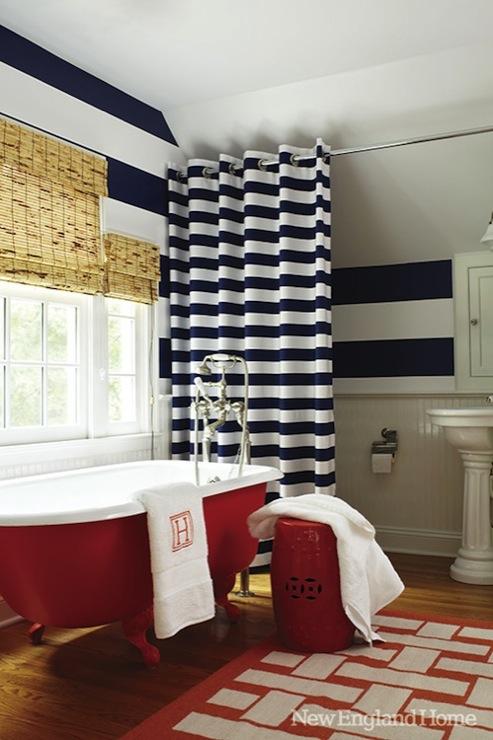 horizontal striped shower curtain