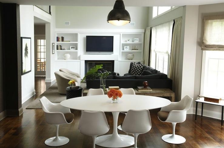 Kwinter Design - Modern dining room design with oval Saarinen Table, Saarinen Tulip ...