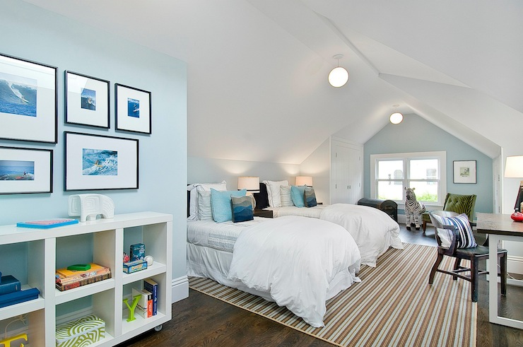 Attic Boys Room Transitional Boys Room Benjamin Moore Fantasy Blue Cardea Building Co