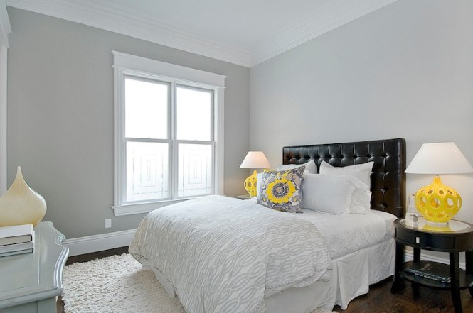 Impressive Grey Bedding Technique Other Metro Contemporary Bedroom Decorating Ideas With Artichoke Light Bedside Table
