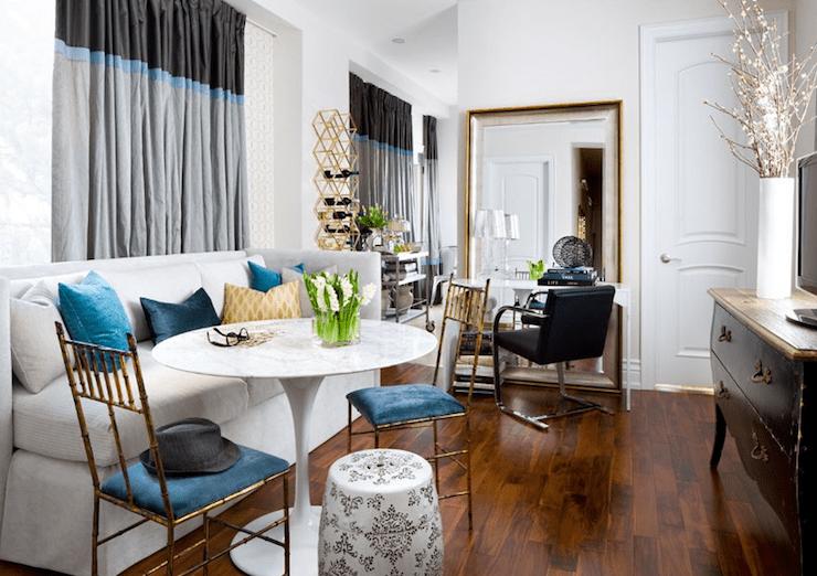 Beautiful modern living room with marble top Saarinen ...