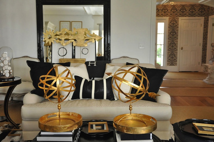Fantastic Gold & Black Living Room With Glossy Black Floor